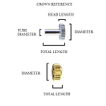 Large Watch Crown Tap 10 Gold 6 X 5.9 X 3 X 1.2 (Diameter / Total length / Head length / Tube diameter)