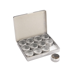 12 Glass Top Aluminum Tin Storage Box