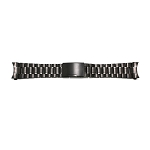 Solid Stainless Steel Band Metallic Black with Curved End (16mm-24mm)