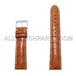 Brown Genuine Alligator Leather White Stitches Band (20mm)
