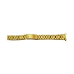 Ladies Metal Watch Band With Curved End Gold Color (14mm)