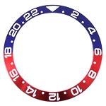 Bezel Insert To Fit Rolex GMT - 38.0mm Blue / Red Aluminum