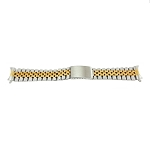 20mm Solid Stainless Steel Band Two-Tone Yellow / White Jubilee Style with Curved End