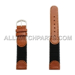 Light Brown and Black Swiss Army Genuine Leather Band (12mm-18mm)