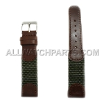 Dark Brown and Olive Green Swiss Army Genuine Leather Band (12mm-20mm)