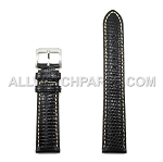 Black Genuine Lizard Leather Band with Bright Stitches (16mm-22mm)