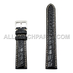 Black Genuine Alligator Leather Band with Bright Stitches (10mm-24mm)