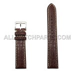 Brown Genuine Alligator Leather Band with Bright Stitches (10mm-24mm)