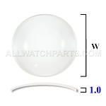 1.0MM Low Dome Sapphire Crystal (20.0mm-40.0mm / 0.5mm Increment)