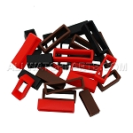 Black, Brown, and Red Silicone Strap Keeper Assortment 24pcs (16mm-30mm)