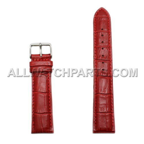 Red Alligator Grain Leather Band (18mm-24mm)