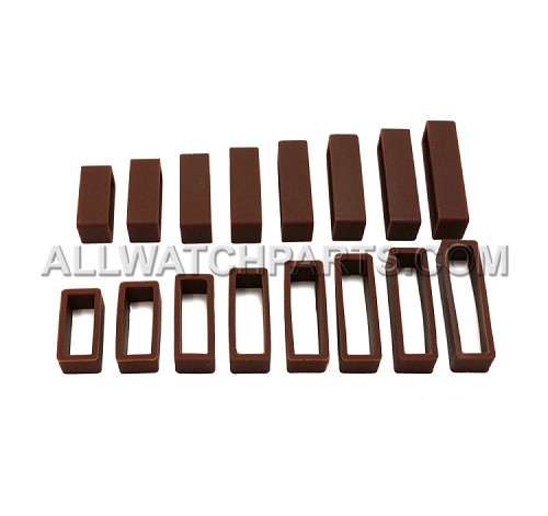 Brown Silicone Strap Keeper Assortment 16pcs (16mm-30mm)