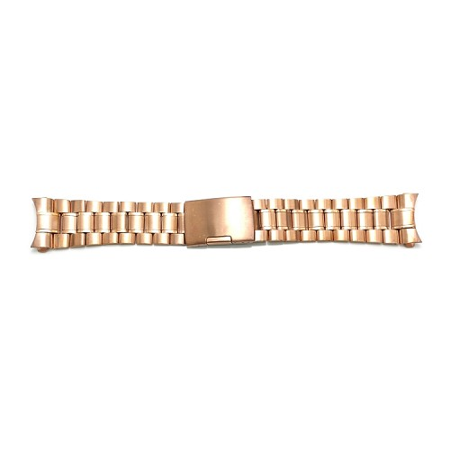 Solid Stainless Steel Band Rose Gold with Curved End (16mm-24mm)
