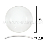 2.0mm Large Double Dome Mineral Glass Crystal (35.5mm-50.0mm / 0.5mm Increment)