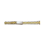 Ladies Metal Watch Band With Curved End Two Tone Yellow / White Color (13mm)