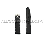 Black Threaded Silicone Rubber Watch Strap  (18mm-30mm)