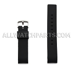 Black Silicone Rubber Watch Strap Thick Curved End (20mm - 24mm)