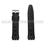 Black Silicone Rubber Watch Strap Swatch End 19mm