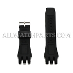 Black Silicone Rubber Watch Strap Split End 24mm