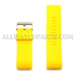 Yellow Silicone Thick End Rubber Watch Strap 28mm