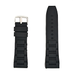 Black Silicone Rubber Oyster Style Watch Strap (22mm-28mm)
