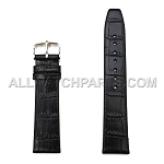 Black Alligator Grain Flat Genuine Leather Band (10mm-24mm)