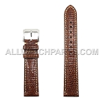 Brown Genuine Lizard Leather Band with Bright Stitches (16mm-22mm)