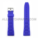 Blue Silicone Rubber Oyster Style Watch Strap (22mm-28mm)