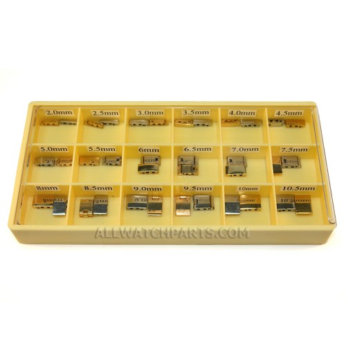 Solid Double Hole Clasp Assortment - Gold & Stainless Steel 36pcs (2.0mm-10.5mm / 0.5mm)