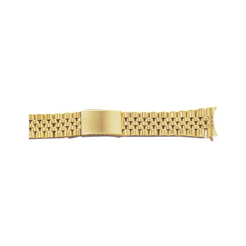Metal Watch Band Gold Color With Curved End (20mm)
