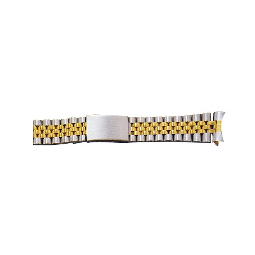 Metal Watch Band Two Tone Yellow / White Color With Curved End (18mm)