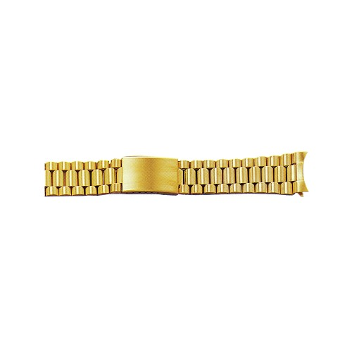Metal Watch Band Gold Color With Curved End (18mm)