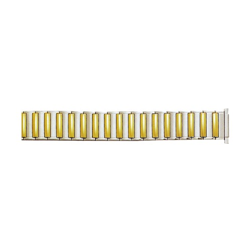 Expansion Metal Watch Band Two Tone Yellow / White Color (16mm-22mm)