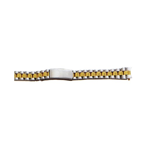 Ladies Metal Watch Band With Curved End Two Tone Yellow / White Color (12mm)