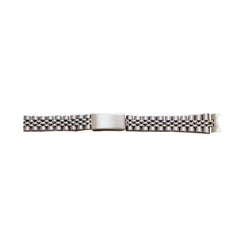 Ladies Metal Watch Band With Curved End Silver Color (14mm)
