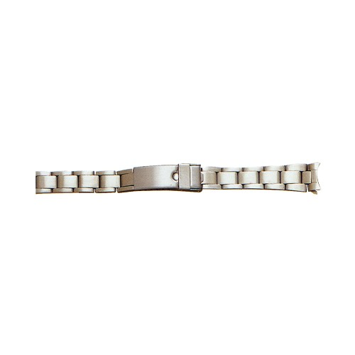 Ladies Metal Watch Band With Curved End Silver Color (13mm)