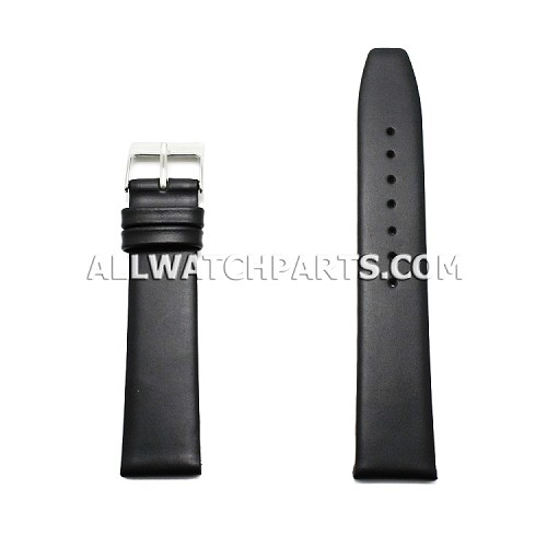 Black Movado Style Smooth & Flat Genuine Leather Band (12mm-24mm)