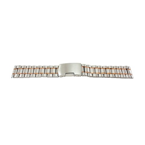 Solid Stainless Steel Band Two-Tone White/ Rose with Straight End (16mm-24mm)