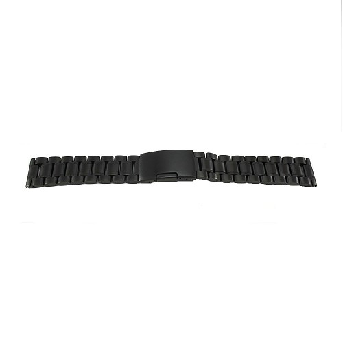 Solid Stainless Steel Band Metallic Black with Straight End (16mm-24mm)