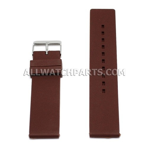 Flat Brown Silicone Rubber Watch Strap (12mm-26mm)