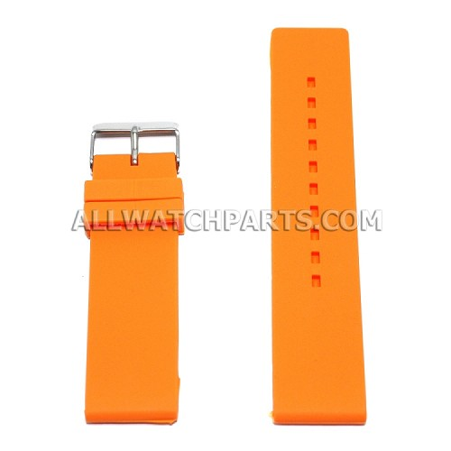Flat Orange Silicone Rubber Watch Strap (12mm-26mm)