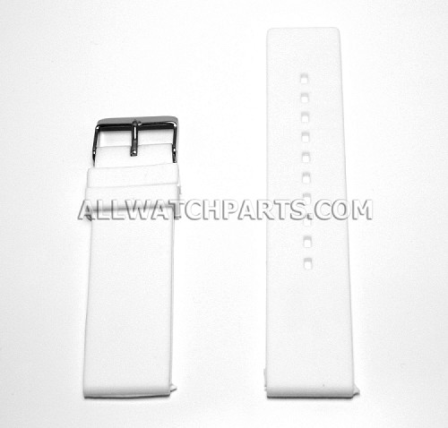 Flat White Silicone Rubber Watch Strap (12mm-26mm)