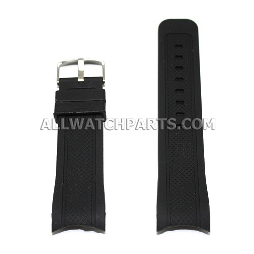 Black Silicone Rubber Watch Strap with Thick Curved End (22mm-24mm)